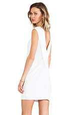 Matte Jersey Cross Drape Back Dress in White