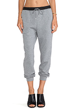 Leather Waistband Sweatpants in Heather Grey