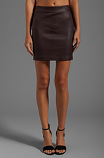 Stretch Leather High Waisted Skirt in Iodine