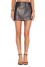 Leather Wrap Skirt in Black