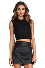 Lightweight Leather A-Line Skirt en Noir