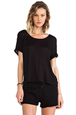 Soft Melange Jersey Scoop Neck Tee in Black