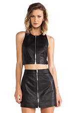 Lamb Leather Pinafore Crossback Tank in Black