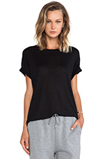 Linen Silk Jersey Oversized Tee in Black