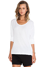 Lightweight Low Neck Long Sleeve Tee in White