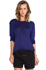 Linen Silk Jersey Long Sleeve Tee in Iris