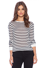 Stripe Rayon Linen Long Sleeve Tee in Navy & White