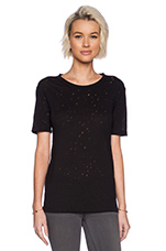 Distressed Holey Jacquard Jersey Short Sleeve Tee in Black
