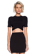 Two Tone Criss Cross Knit Top in Black
