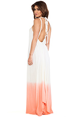 Coco Low Scoop Back Maxi Dress in Coral Cream Ombre