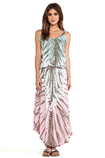 Copacabana Printed Maxi Dress in Teal & Grey & Blue Vibe