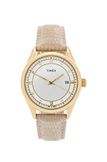 Casual Dress Watch in Yellow Gold & White & Beige