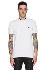 Shiny Pique And Leather Polo in White