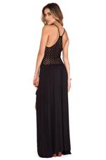 Crochet Back High Low Dress in Black