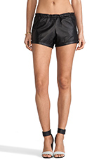 Leather Riding Shorts in Black