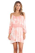 Mischa Open Shoulder Dress in Coral