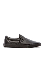 Classic Slip On in Premium Leather Black Mono