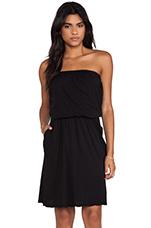 Svetlana Sheer Jersey Dress in Black