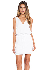 Dot Cotton Slub Dress in White