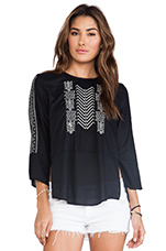 Albany Embroidered Rayon Challis Top in Black