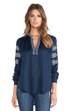 Calli Embroidered Rayon Challis Top in Navy