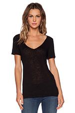 Linen Knit Paulie Tee in Black