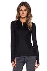 Half Zip Lace Pullover in Black