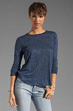 Long Sleeve Shirt Tail Tee in Heather Navy