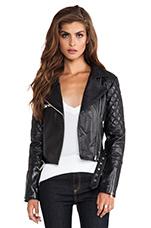 Alexei Quilted Biker Jacket in Black