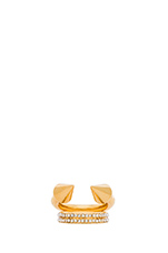 Titan Plain Crystal Band Ring in Gold & Clear