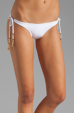 Kalahari Tie Side Embroidery Bikini Bottom in White
