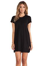 Slub Short Sleeve Vented Dress in Black