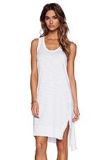 Slim Slit Tank Dress in White