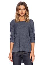 Heather Jersey Big V Back Sweatshirt in Blue Night
