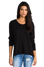 Slub Jersey Slouchy BF Long Sleeve in Black