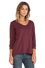 Slub Jersey Shrunken 3/4 Sleeve Tee in Vino