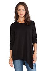 Slub Jersey Long Sleeve Mixed Tunic in Black
