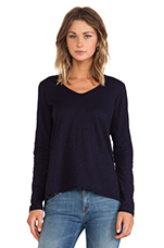 Slub Jersey Long Sleeve Shrunken Boyfriend Tee in Blue Night