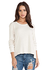 Thermal Baby Back Slant Mixed Long Sleeve Top in Cloud