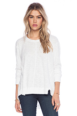 Slub Long Sleeve Panelled Hi-Lo in White