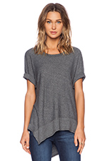 Heather Jersey Slanted Mixed Dolman in Ash