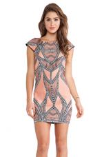 Native Shift Dress in Peach Print