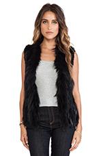 Atlanta Rabbit Fur Vest in Black