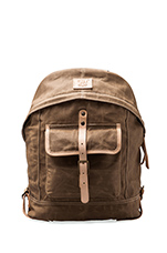 Wax Coated Canvas Dome Backpack in Khaki