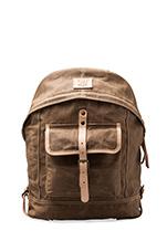 Wax Coated Canvas Dome Backpack in Khaki