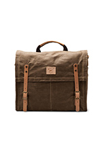 Wax Coated Canvas Messenger in Khaki