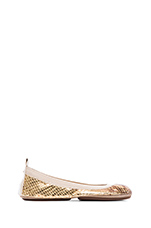Samara Metallic Python Leather Flat in Gold