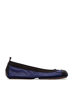 Samantha Leather Fold Up Flat in Oxford Blue & Black