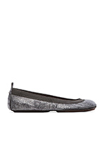 Samara Lagarto Metallic Leather Fold Up Flat in Pewter