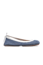 Samara Woven Canvas Flat in Indigo
